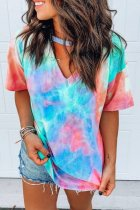 Uniqdress Tie-dye Print Cutout Design Loose T-shirt (4 Colors)