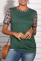 Uniqdress Leopard Patchwork Green T-shirt