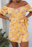 Uniqdress Floral Print Yellow One-piece Romper