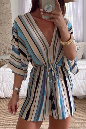 Uniqdress V Neck Striped Blue One-piece Romper