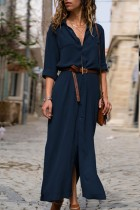 Uniqdress Turndown Collar Buttons Design Dark Blue Maxi Dress