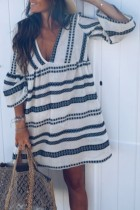 Uniqdress V Neck Striped White Mini Dress