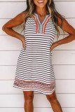 Uniqdress Striped Patchwork Black Mini Dress