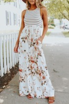 Uniqdress Striped Print Patchwork White Maxi Dress