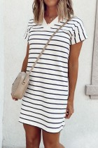 Uniqdress V Neck Striped Black Mini Dress