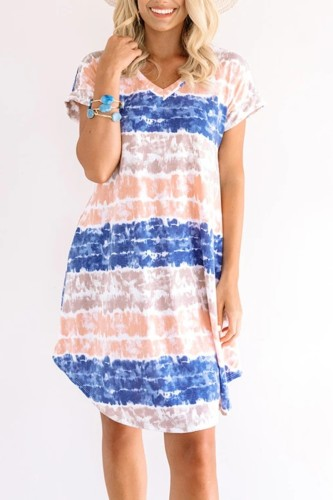 Uniqdress V Neck Striped Print Blue Midi Dress