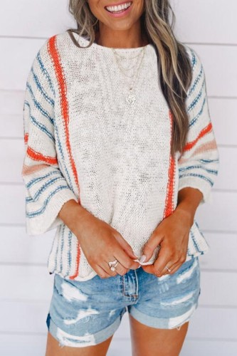 Uniqdress O Neck Striped Print White Sweater