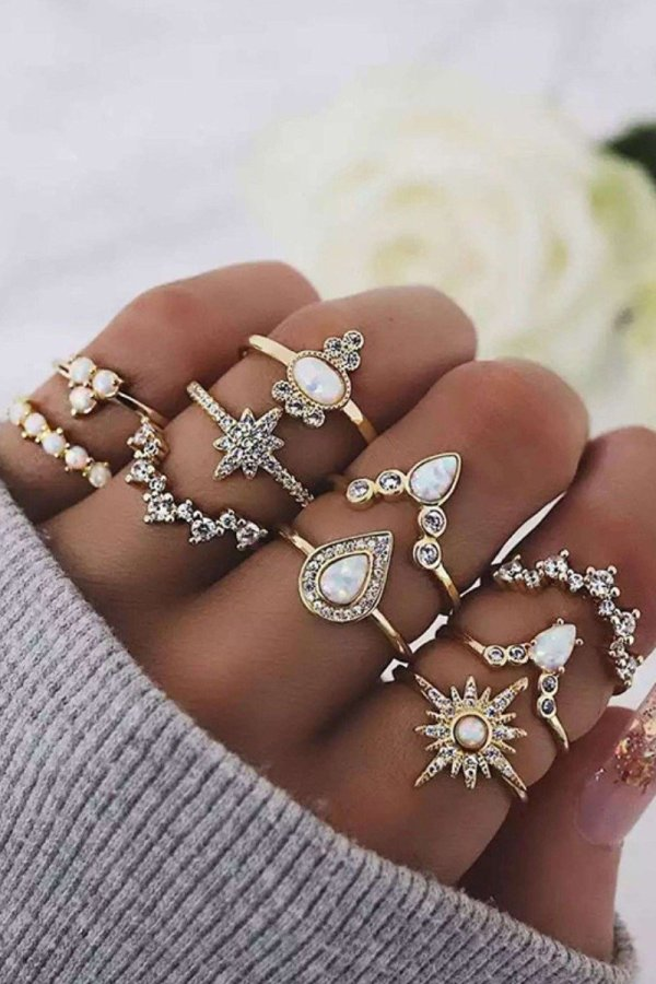 Roselypink 10-piece Gold Ring