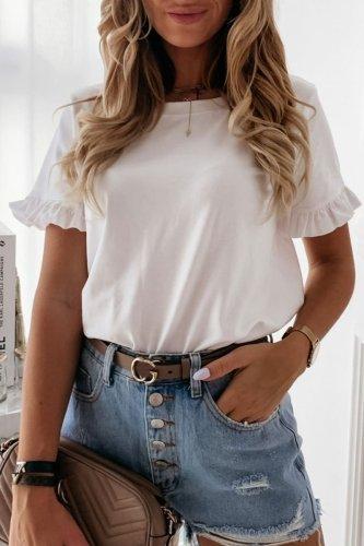Roselypink O Neck Flounce Design White T-shirt