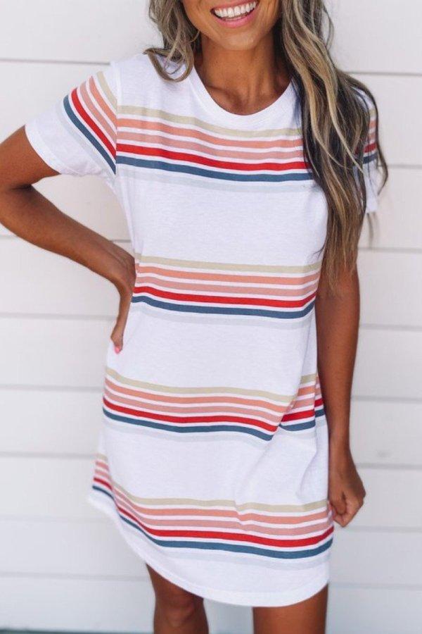 Roselypink Striped Design Loose White Mini Dress