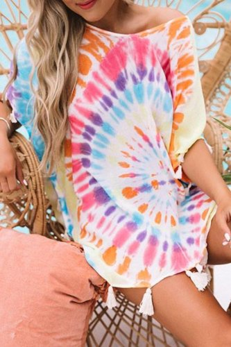 Roselypink Tie-dye Multicolor Cover-up