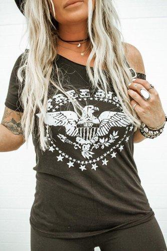 Roselypink Print Black T-shirt