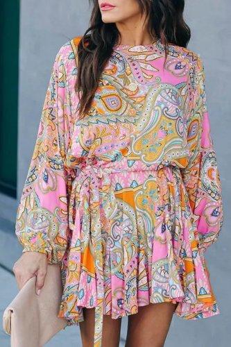 Roselypink Print Pink Mini Dress