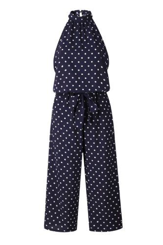 Roselypink Halter Neck Dot Printed Dark Blue One-piece Jumpsuit(Nonelastic)