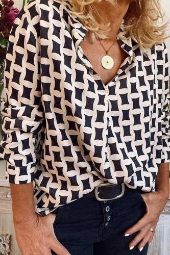 Roselypink Geometric Printed White Blouse