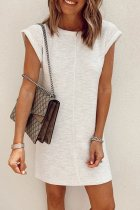 Roselypink O Neck White Casual Mini Dress
