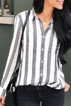 Roselypink Buttons Down Striped Grey Shirt