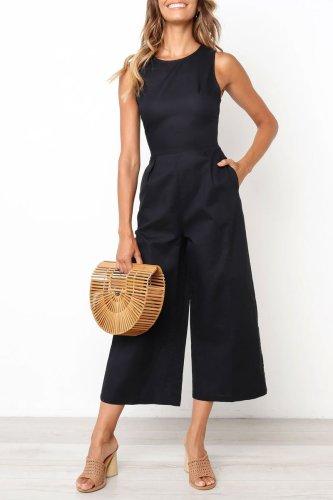Roselypink Pockets Design Black One-piece Jumpsuit