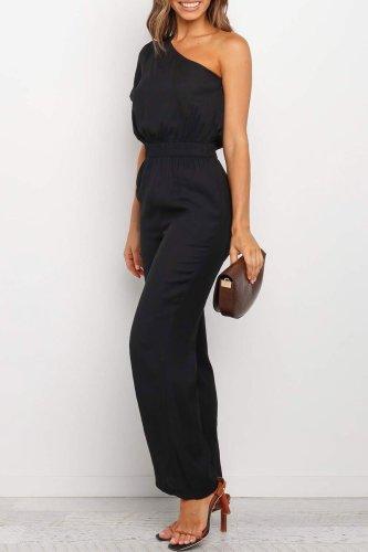 Roselypink One Shoulder Black One-piece Jumpsuit