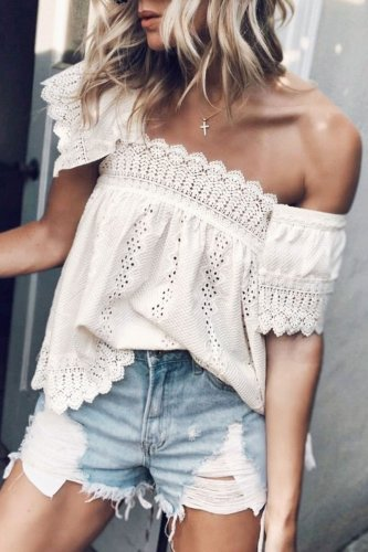 Roselypink Dew Shoulder Hollow-out White Blouse