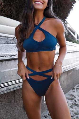 Roselypink Hollow-out Blue Two-piece Swimsuit