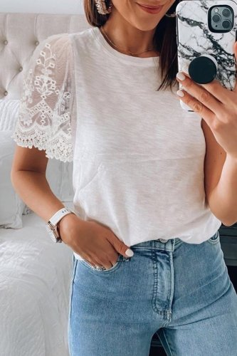 Roselypink Patchwork White T-shirt