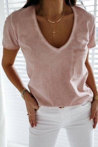 Roselypink V Neck Pocket Patched Light Pink T-shirt