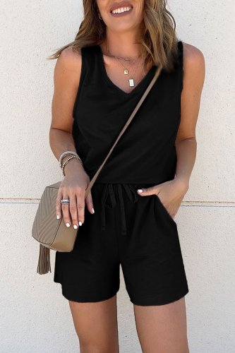Roselypink Lace-up Black One-piece Romper