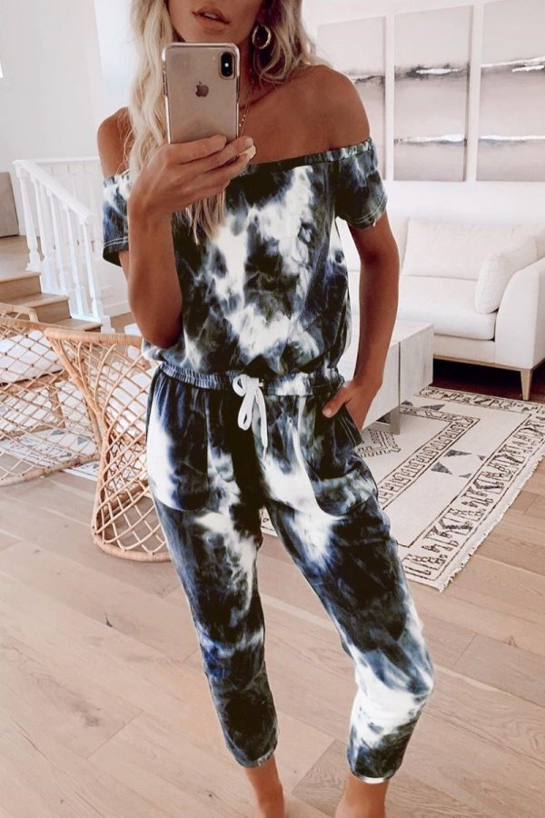 Roselypink Tie-dye Black One-piece Jumpsuit