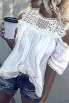 Roselypink Hollow-out Patchwork White Blouse