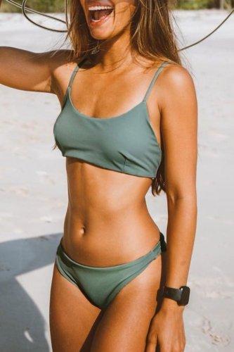 Roselypink Basic Bandeau Green Bikini Set