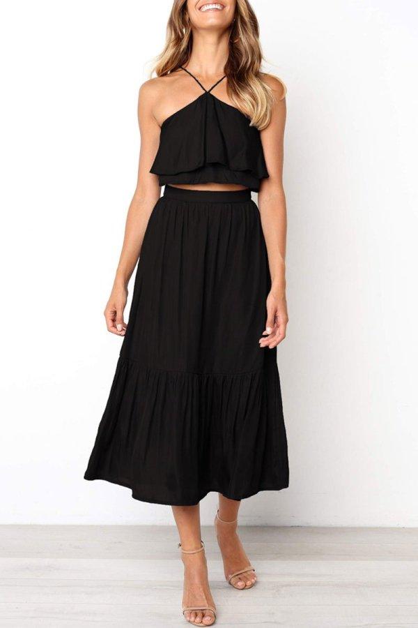 Roselypink Halter Neck Ruffle Design Black Two-piece Skirt Set