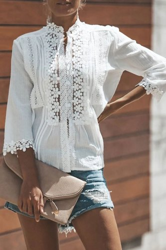 Roselypink Lace Patchwork White Shirt(2 Colors)