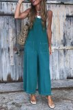 Roselypink Spaghetti Straps Blue Loose One-piece Jumpsuit(Nonelastic)