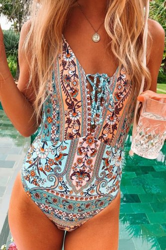 Roselypink Plants Print Blue One-piece Swimsuit