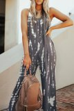 Roselypink Spaghetti Straps Printed Deep Grey One-piece Jumpsuit