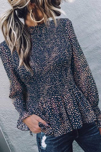 Roselypink Dot Print Black Blouse