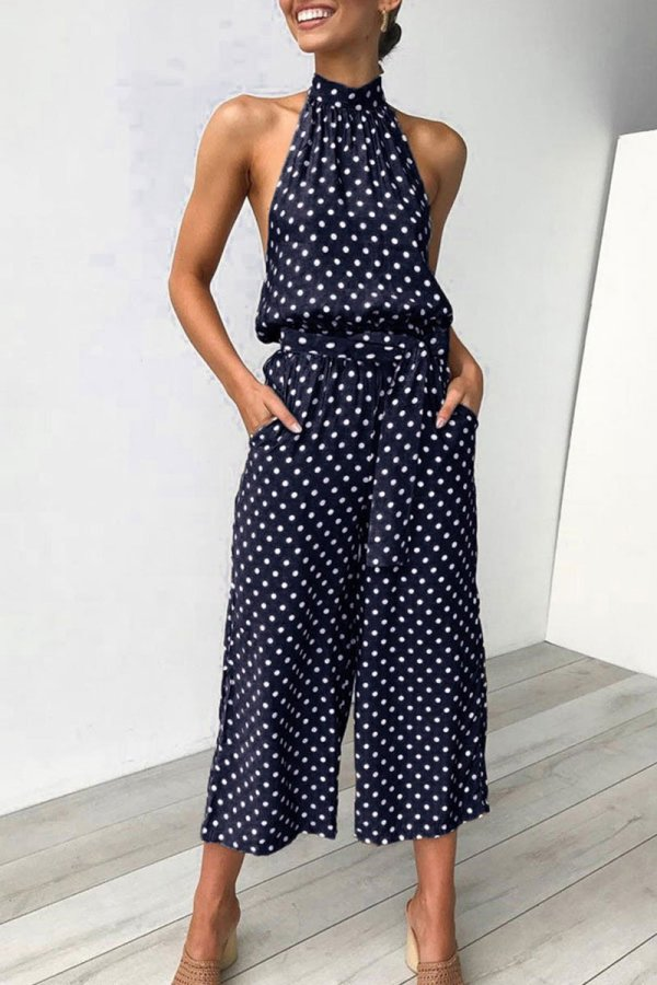 Roselypink Halter Neck Dot Printed Dark Blue One-piece Jumpsuit(Nonelastic)