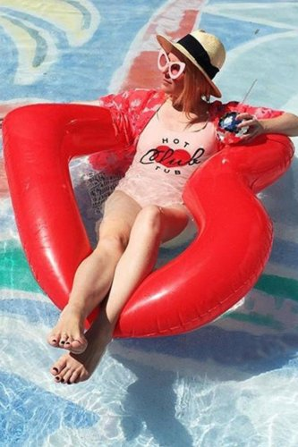 Roselypink Heart Red Pool Float