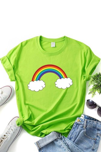 Roselypink Rainbow O Neck Printed Green T-shirt