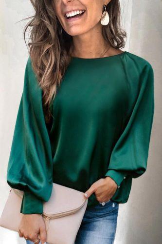 Roselypink Basic Loose Design Solid Green Blouse
