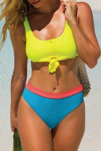 Roselypink Knot Patchwork Yellow Tankini Bikini Set