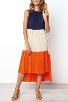 Roselypink Color-lump Patchwork Loose Dress