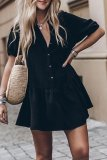 Roselypink Buttons Design Black Mini Dress