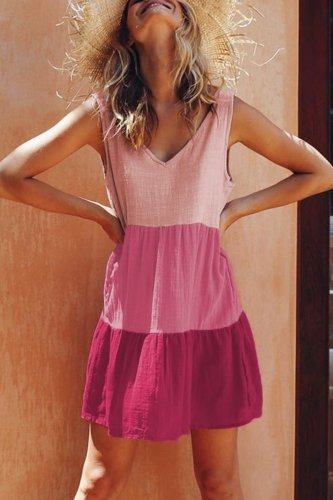 Roselypink Patchwork Layer Pink Mini Dress