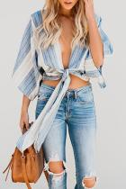 Roselypink Fashion V Neck Striped Blue Cotton Shirts