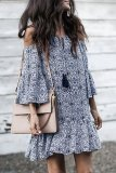 Roselypink Bohemian Asymmetrical Printed Dark Blue Skirt