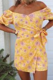 Roselypink Floral Printed Yellow One-piece Romper