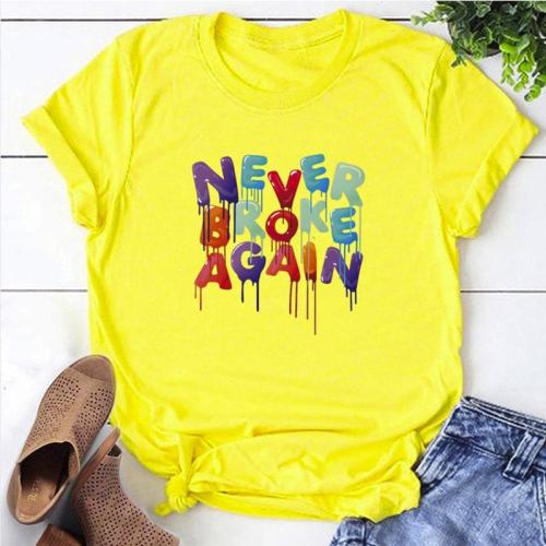 Roselypink NEVER BROKEN AGAIN Printed Yellow T-shirt