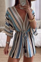 Roselypink Boho V Neck Striped Blue One-piece Romper